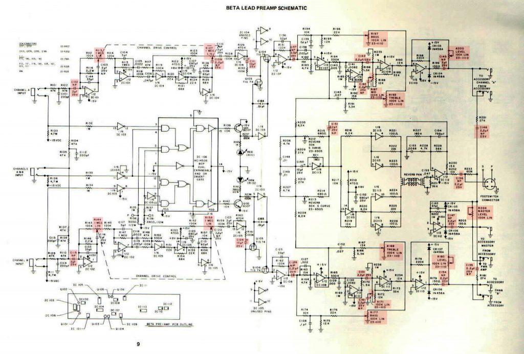 SUNN Beta-Lead pre amp schematic