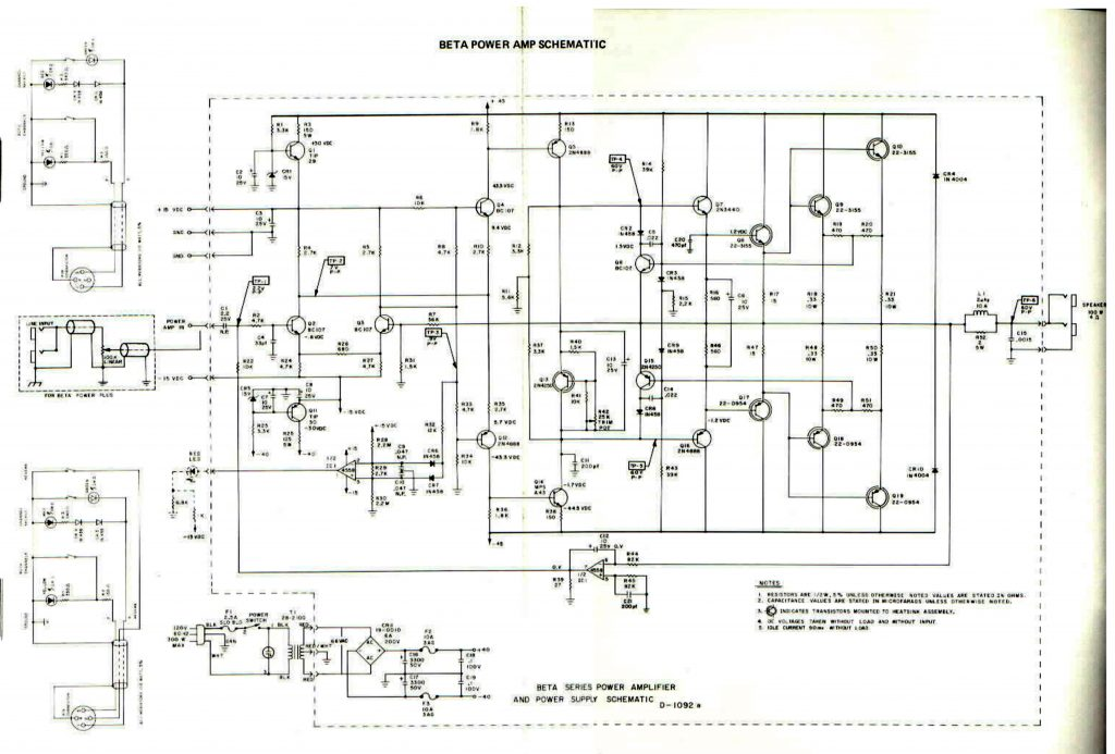 SUNN Beta-Lead pwr amp schematic