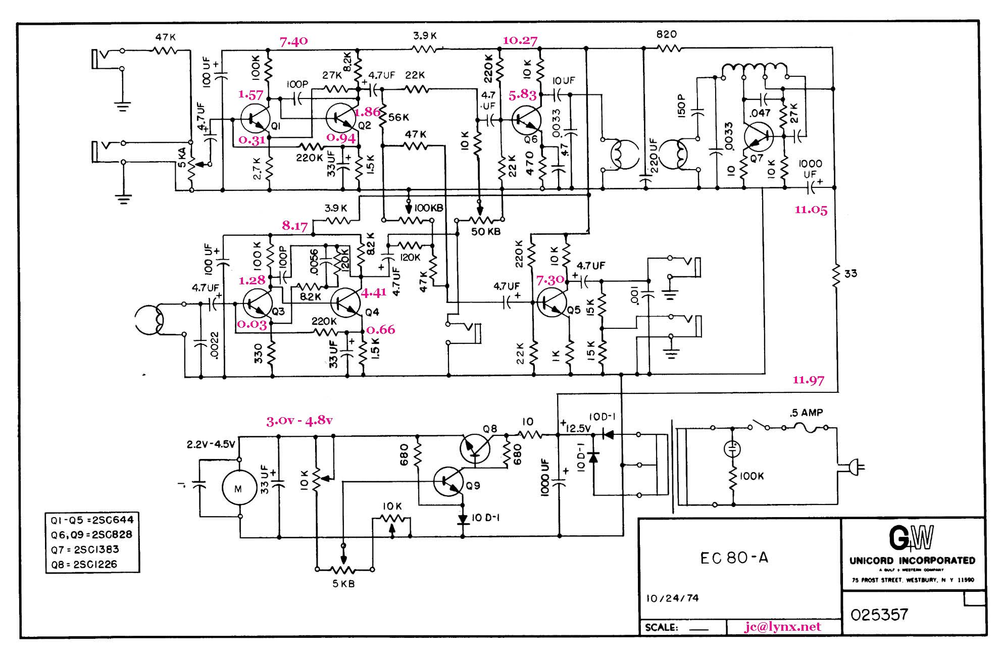 unicord ec-80a tape echo  study-repair